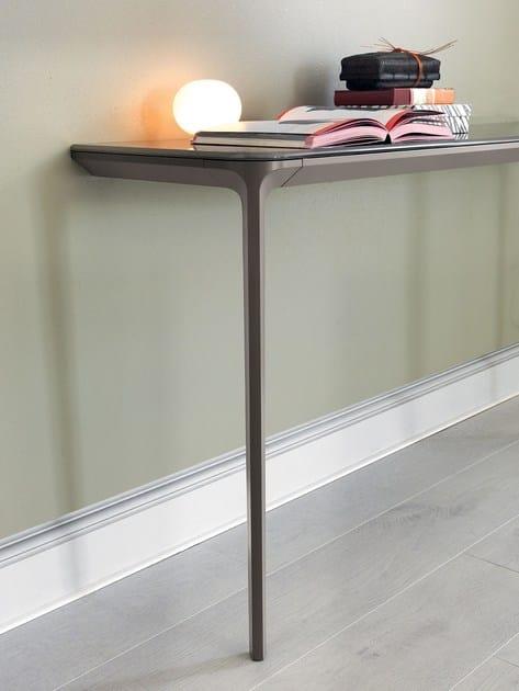 Slim 2 legs domus sovet italia slim 2 legs rectangular glass console table watchthetrailerfo