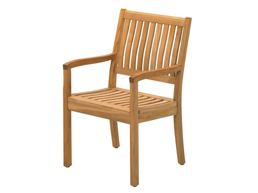 Teak garden chair with armrests KINGSTON   Garden chair with armrests by Gloster