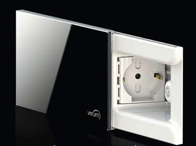Concealed glass electrical outlet VITRUM PRESA by Vitrum