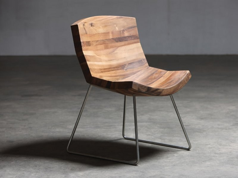 Sled base walnut chair CHUNK | Chair by Artisan