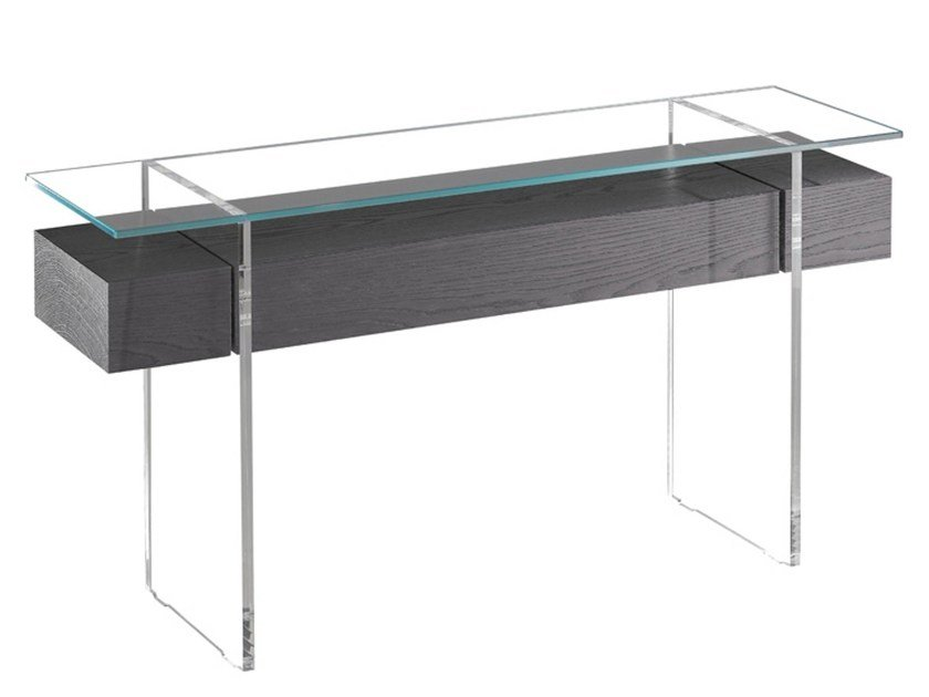 Wood and glass console table with drawers ÔSMOS | Console table by La Maison Turrini