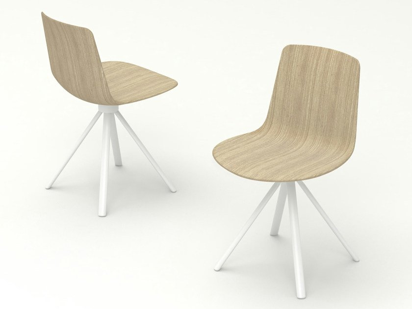 Trestle-based wooden chair SPIN | Wooden chair by ENEA