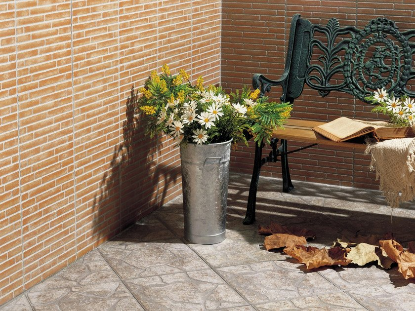 Outdoor wall tiles with brick effect ARAGON by REALONDA
