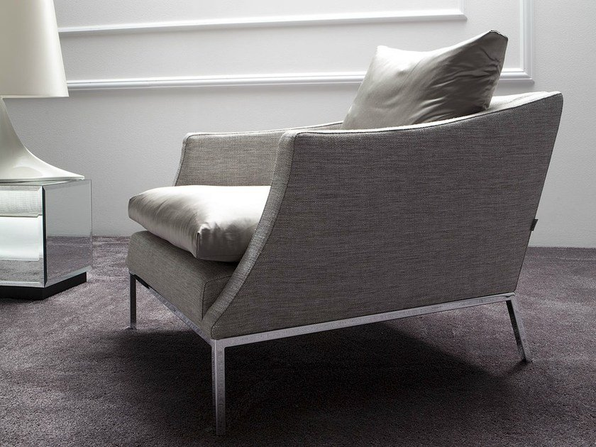 Upholstered armchair with armrests LEGENDA by ERBA ITALIA