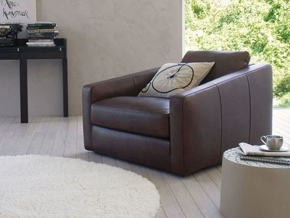 Upholstered leather armchair with armrests TOBIAS   Armchair by ESTEL GROUP