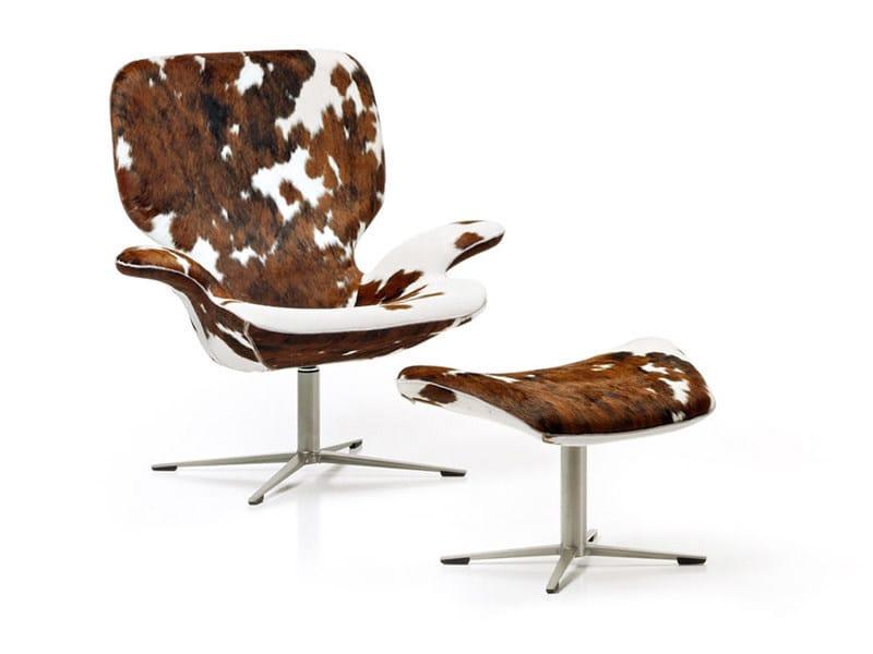 Swivel armchair with footstool CLARKE by ESTEL GROUP