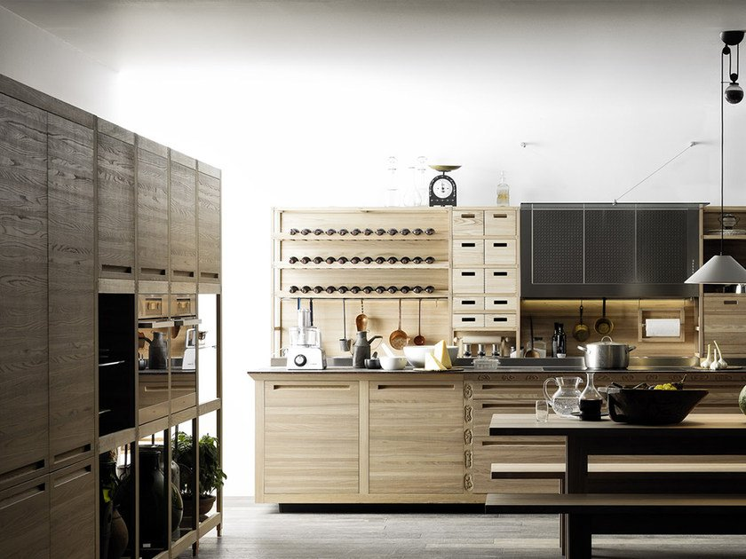 Wooden fitted kitchen SINE TEMPORE by VALCUCINE