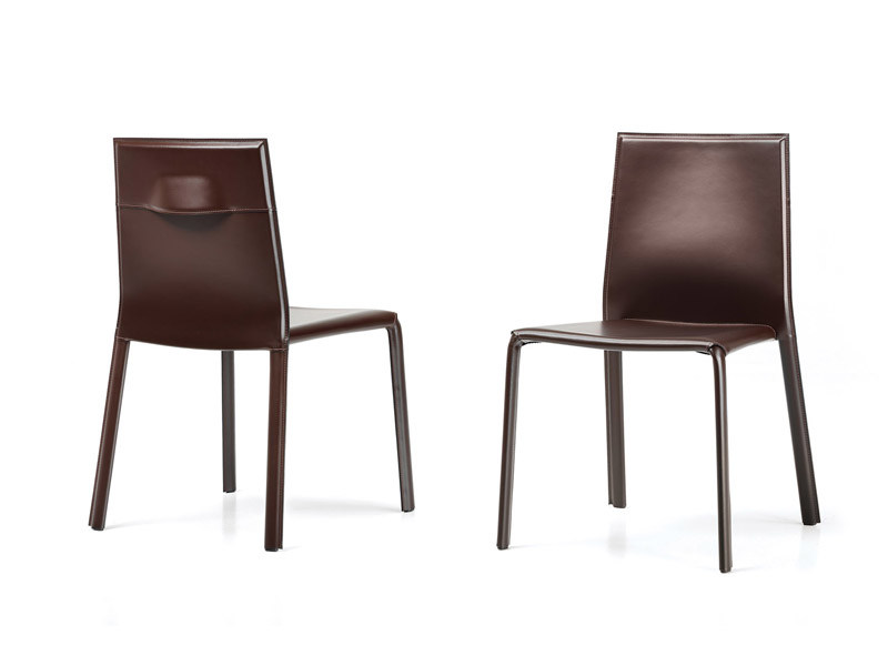 Stackable tanned leather chair MIA by ESTEL GROUP
