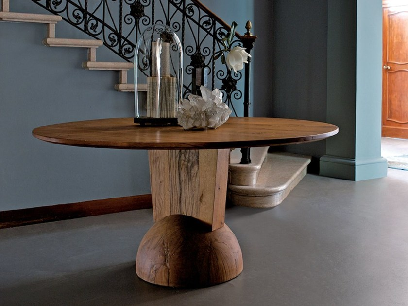 Round reclaimed wood table BRANCUSI | Round table by ESTEL GROUP