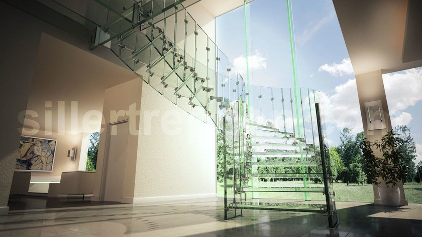 Helical self supporting Glass and Stainless Steel Spiral staircase FLY | Helical Spiral staircase by Siller Treppen