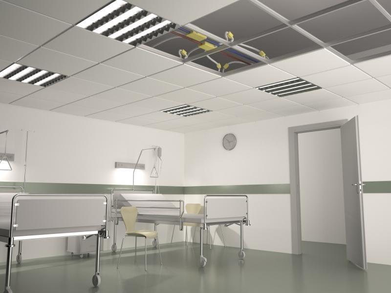 Radiant steel ceiling tiles B!KLIMAX+ QUADROTTO by RDZ