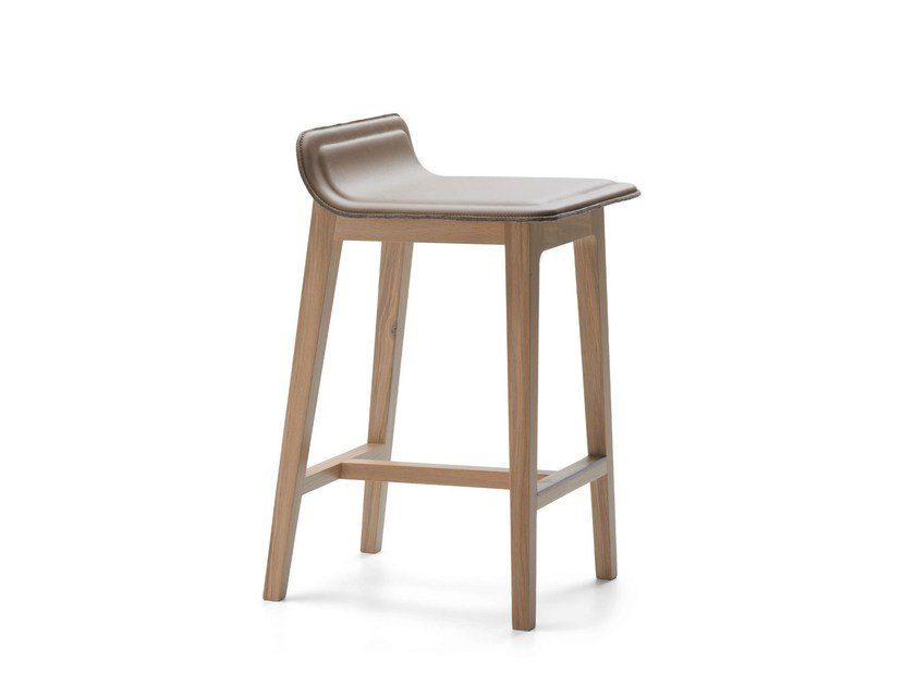 High leather stool LAIA   Stool by ALKI