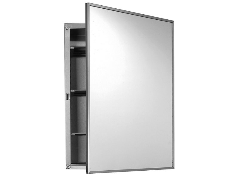 Inox Bathroom Wall Cabinet With Mirror By Ponte Giulio