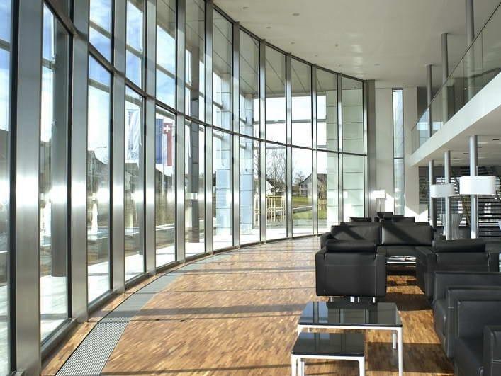 Thermal break curved steel glass facade FORSTER THERMFIX VARIO e FORSTER THERMFIX LIGHT by Forster