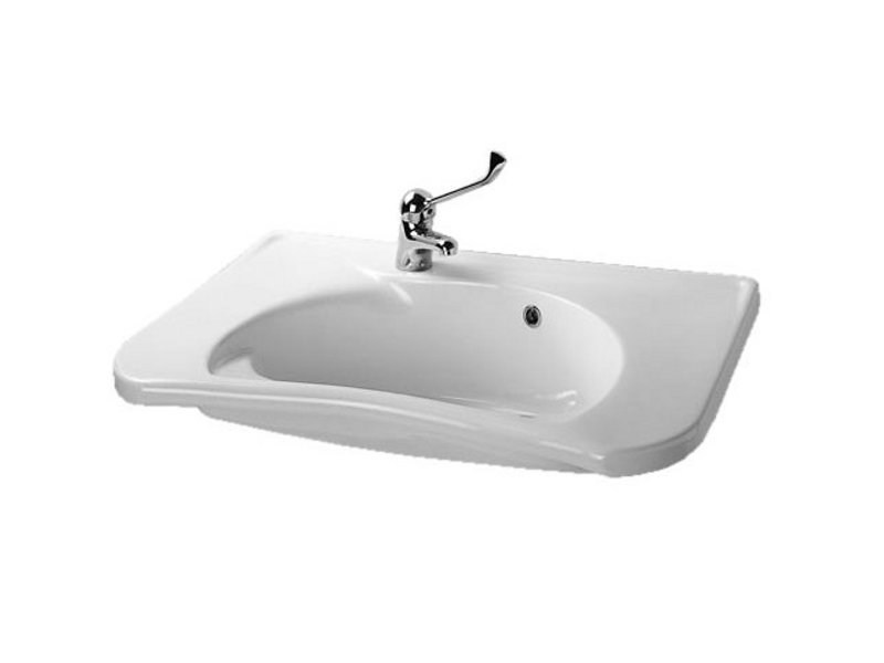 Wall-mounted porcelain washbasin ROSSARI | Washbasin for disabled by Ponte Giulio