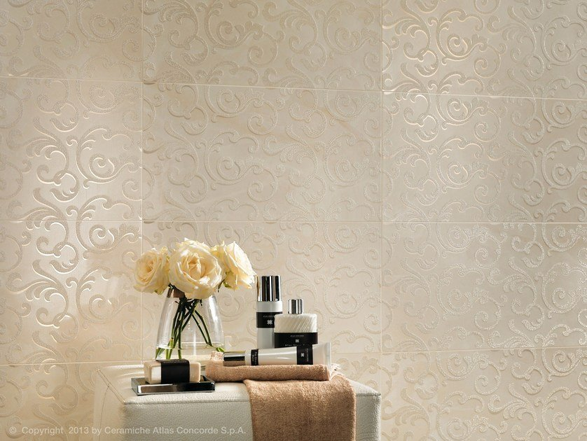 MARVEL WALL | Rivestimento in ceramica a pasta bianca Champagne Damask