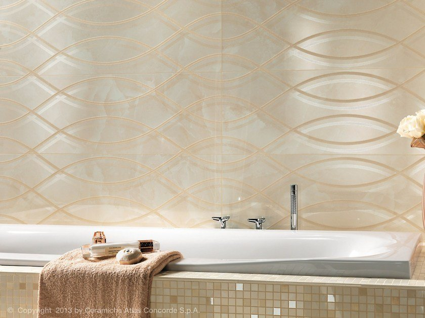 MARVEL WALL | Rivestimento in ceramica a pasta bianca Champagne Wave