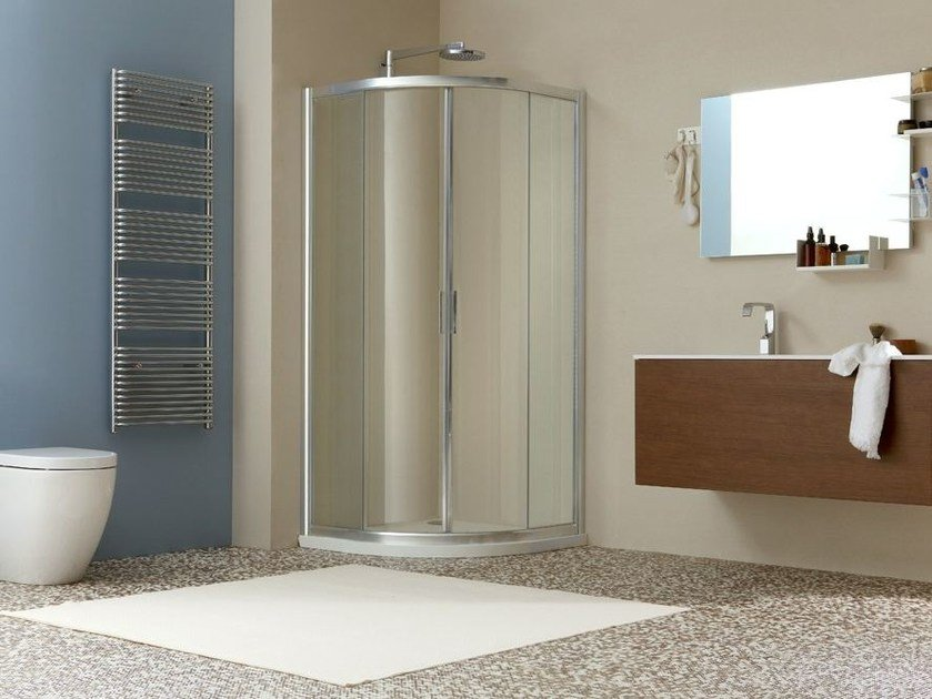 Corner shower cabin with sliding door LIVE R2S by MEGIUS