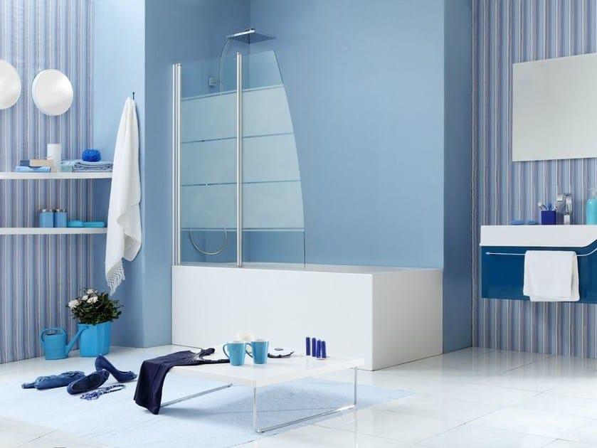Glass bathtub wall panel WEB 1.0 V2V by MEGIUS