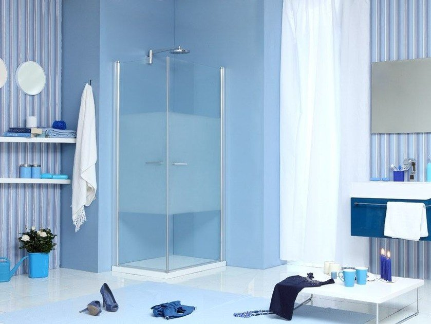Corner shower cabin with hinged door WEB 1.0 A by MEGIUS