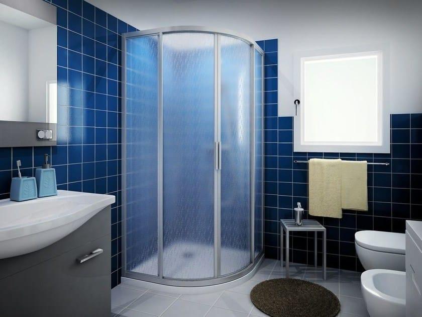 Corner shower cabin with sliding door CLASSIC R2S by MEGIUS