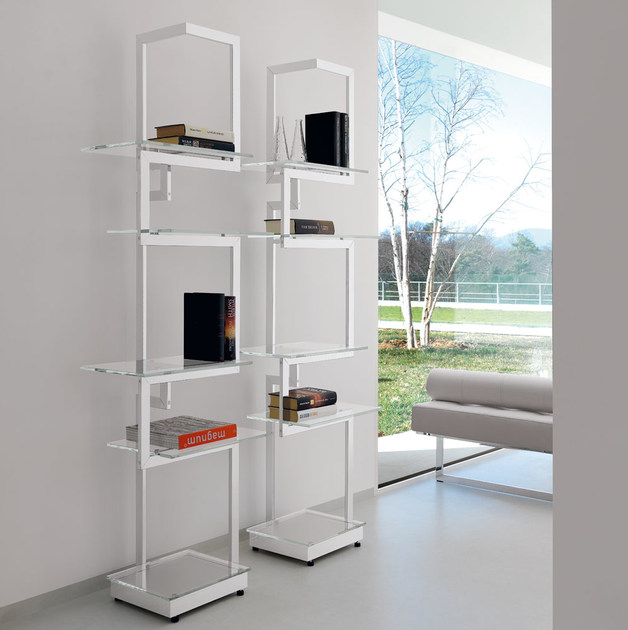 Design open freestanding double-sided metal bookcase HERITAGE | Design bookcase by Italy Dream Design
