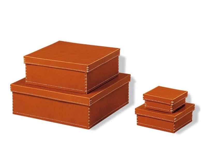 Tanned leather storage box 1981 by ESTEL GROUP