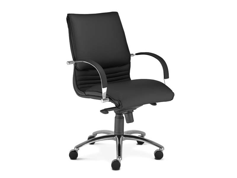 Medium back leather executive chair with 5-spoke base ARTÙ | Medium back executive chair by MASCAGNI
