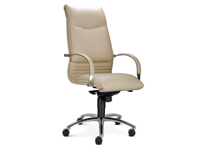 High-back leather executive chair with 5-spoke base ARTÙ   High-back executive chair by MASCAGNI