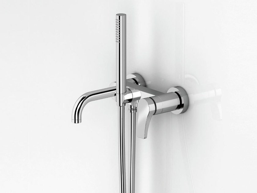 Wall-mounted bathtub mixer with hand shower AL/23 | Wall-mounted bathtub mixer by ABOUTWATER