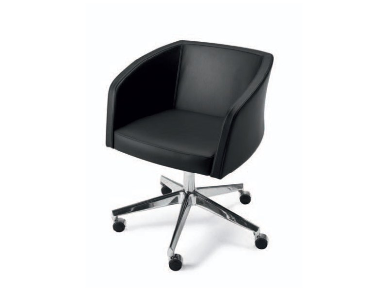 Easy chair with 5-spoke base with casters WINE 039   Easy chair with 5-spoke base by Tonon