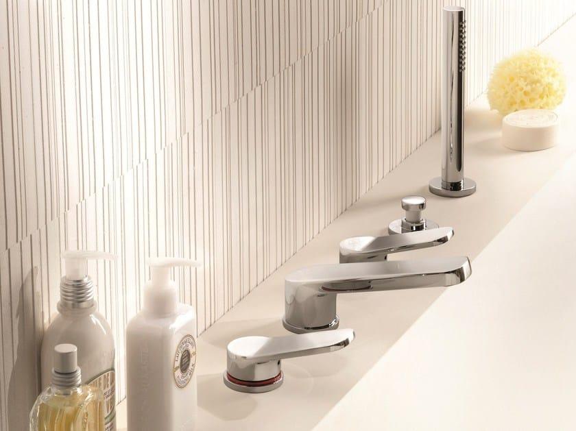 5 hole bathtub set with diverter with hand shower LEVANTE   5 hole bathtub set by Fantini Rubinetti