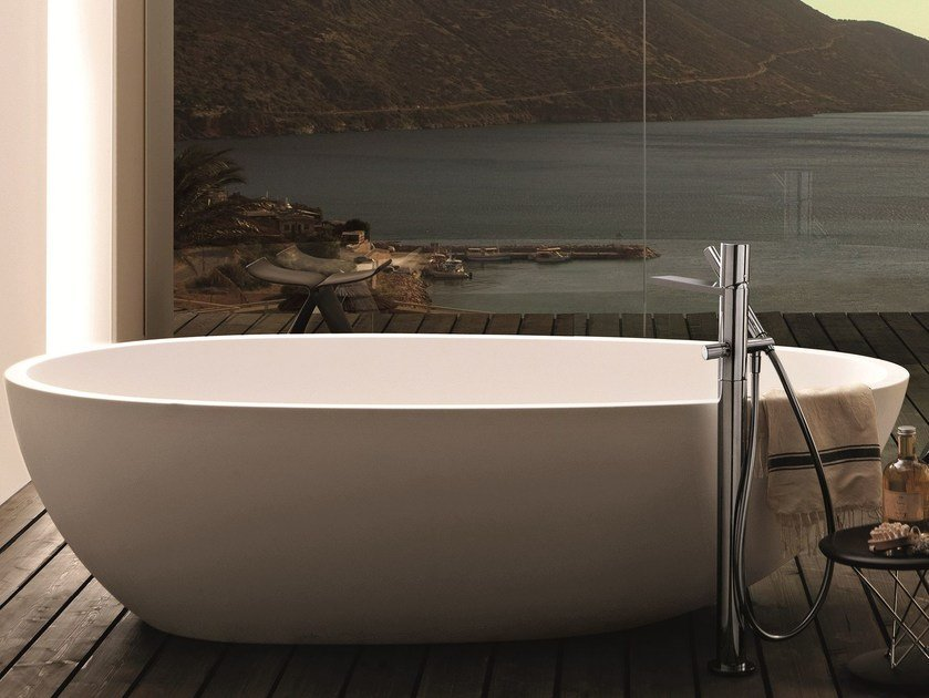 Floor standing bathtub mixer with hand shower MILANO - 3380A/3080B by Fantini Rubinetti