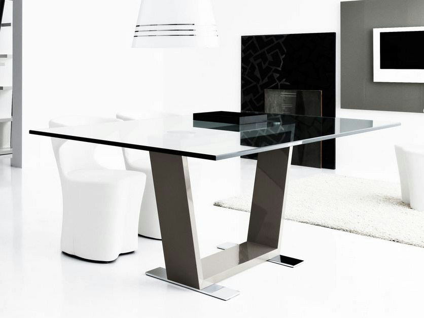 Rectangular wood and glass table DOLY by Italy Dream Design