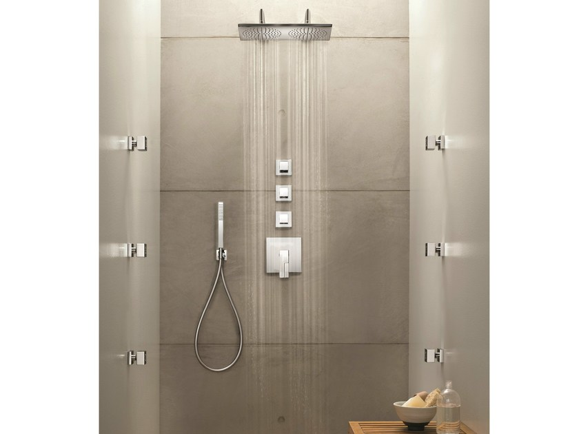 4 hole thermostatic shower mixer with overhead shower AR/38 | Thermostatic shower mixer by Fantini Rubinetti