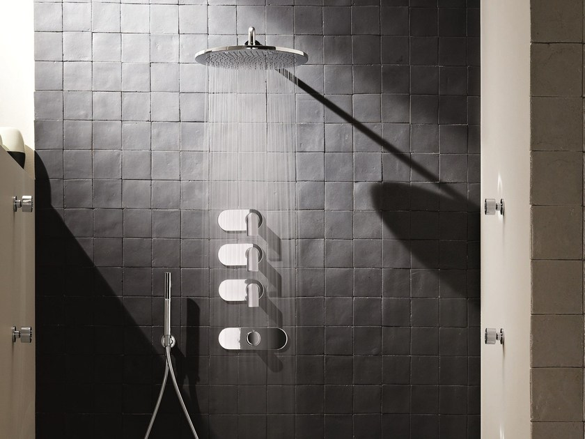 4 hole thermostatic shower mixer with overhead shower MARE | 4 hole thermostatic shower mixer by Fantini Rubinetti