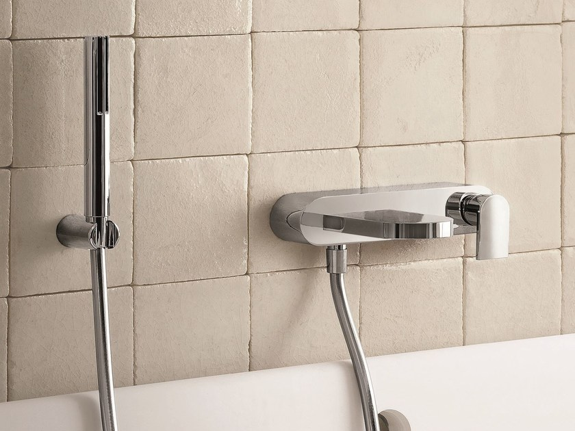 Wall-mounted bathtub mixer with hand shower MARE | Bathtub mixer with hand shower by Fantini Rubinetti
