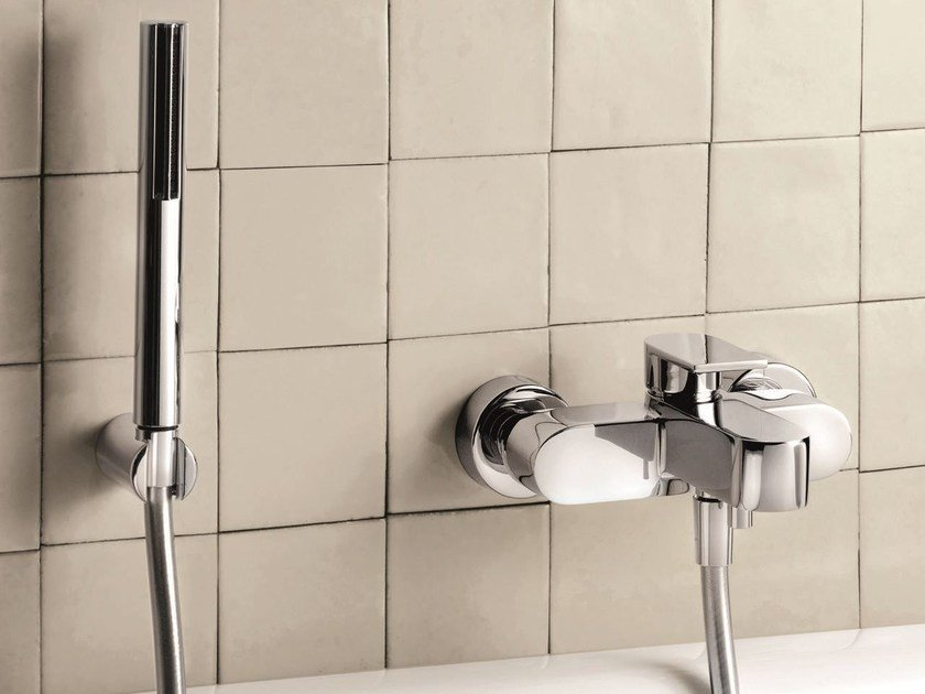 Wall-mounted bathtub mixer with hand shower MARE | Wall-mounted bathtub mixer by Fantini Rubinetti