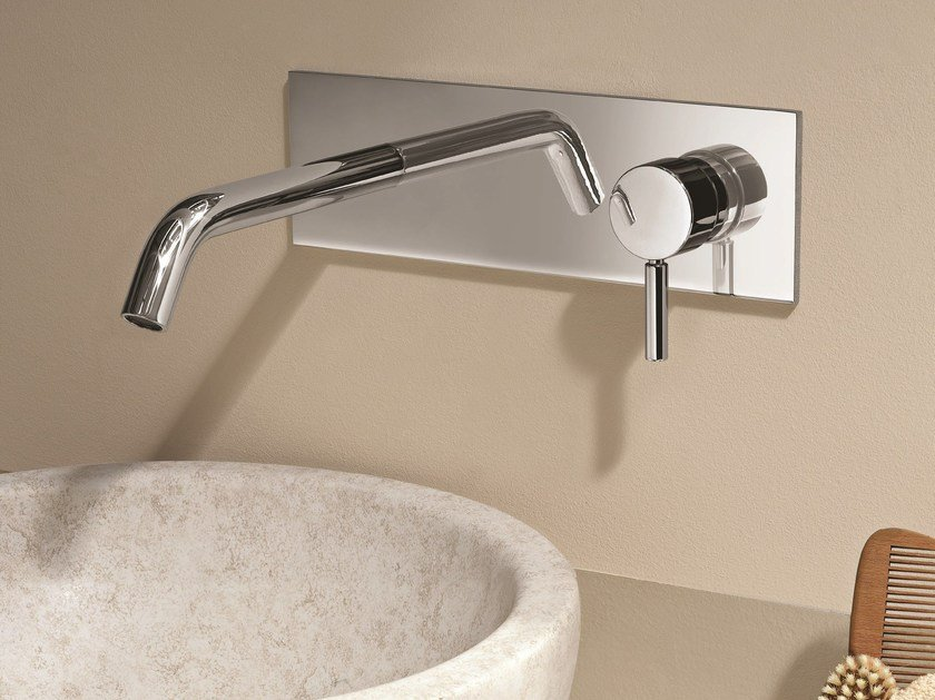 Wall-mounted washbasin mixer with plate NOSTROMO - D013A/E313B by Fantini Rubinetti