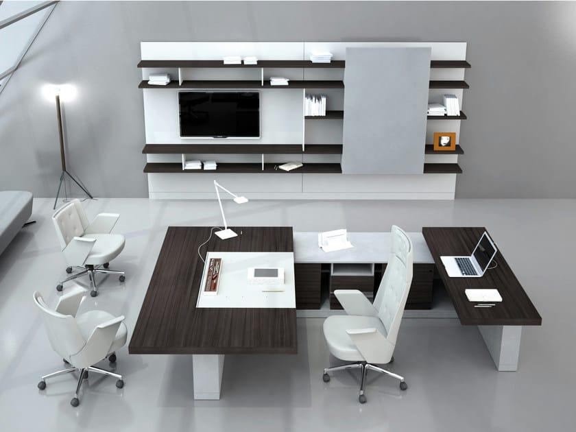 Modular wooden office shelving BOISERIE by ESTEL GROUP