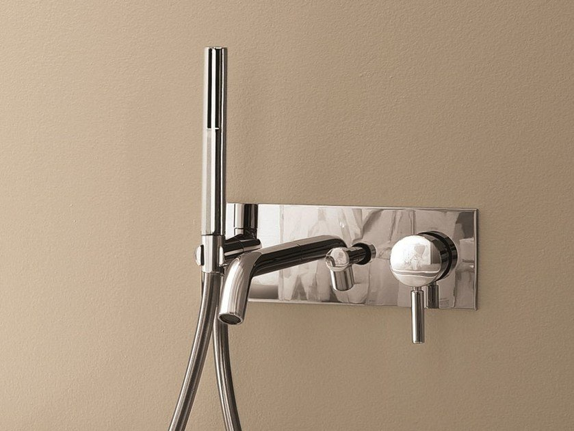 Wall-mounted bathtub mixer with plate NOSTROMO - 1620A/2620B by Fantini Rubinetti