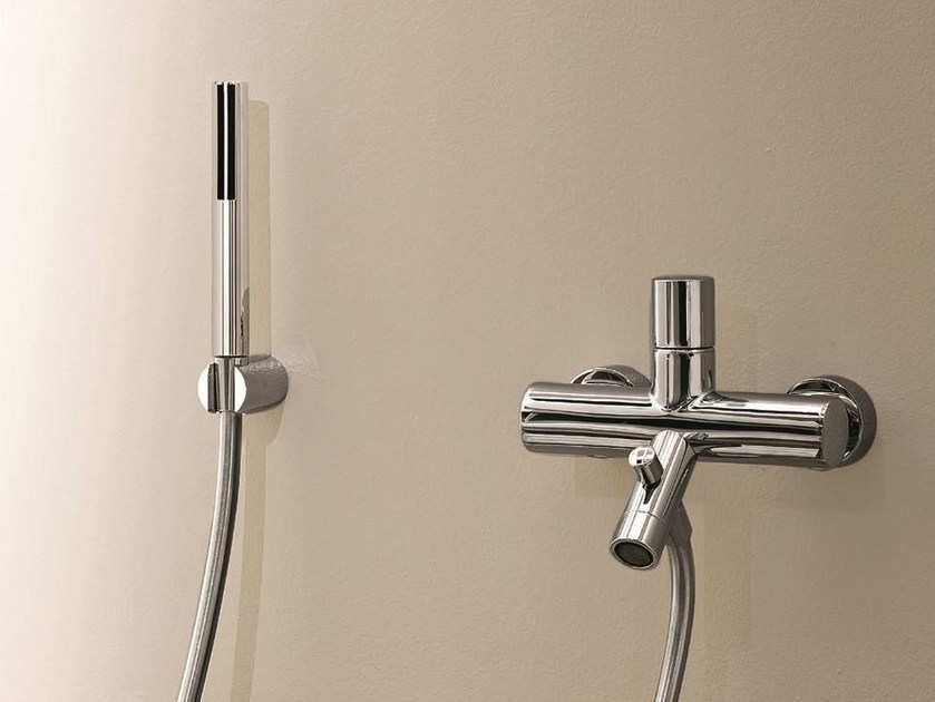 Wall-mounted bathtub mixer with hand shower NOSTROMO - 1615 by Fantini Rubinetti