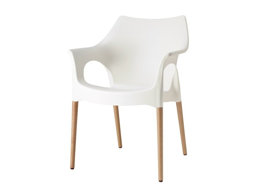 Stackable technopolymer chair with armrests NATURAL OLA by SCAB DESIGN