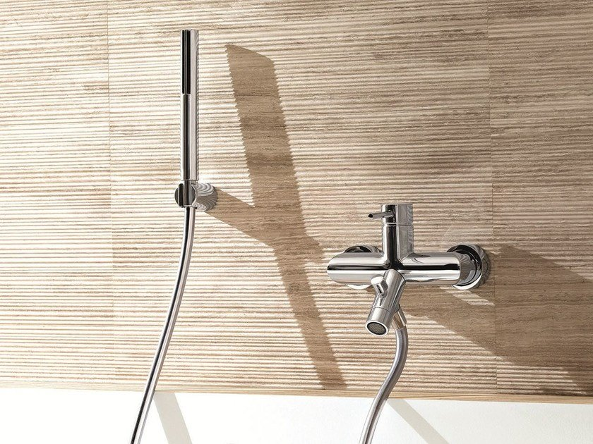 Wall-mounted bathtub mixer with hand shower CAFÈ | Wall-mounted bathtub mixer by Fantini Rubinetti