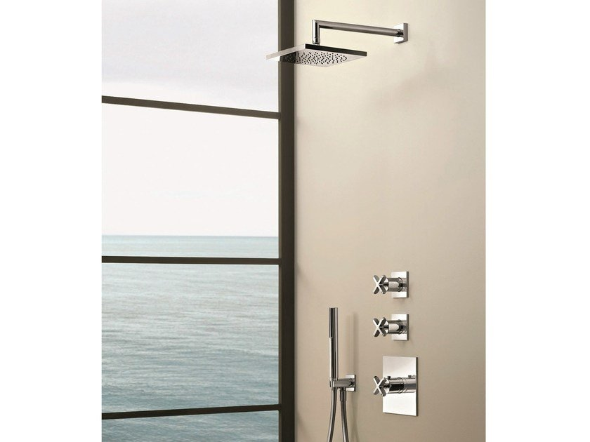 3 hole thermostatic shower mixer with hand shower RIVIERA | 3 hole thermostatic shower mixer by Fantini Rubinetti