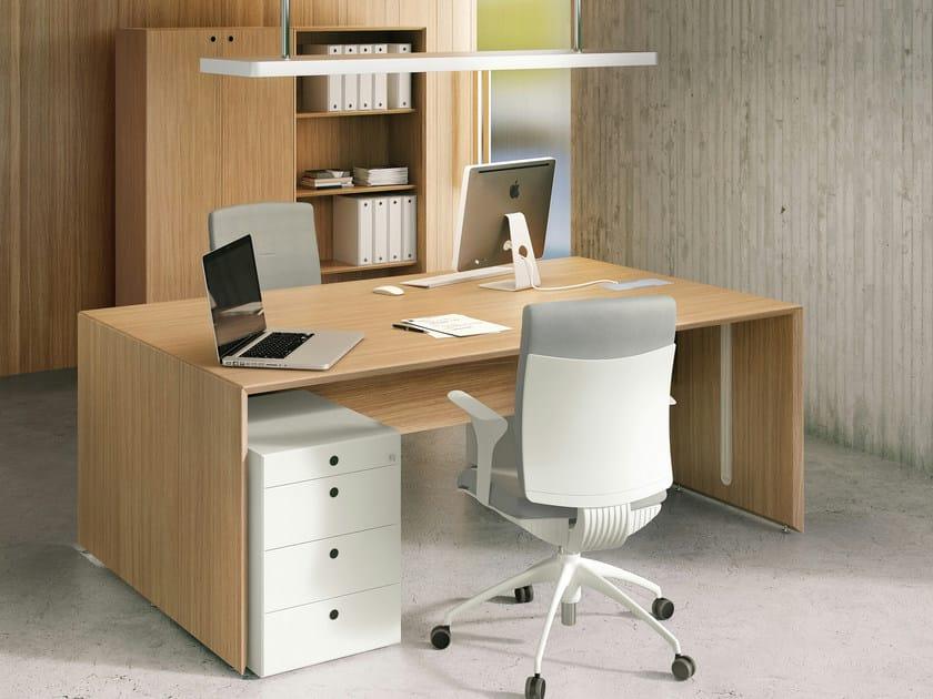Oak workstation desk QUARANTA5 | Oak office desk by FANTONI