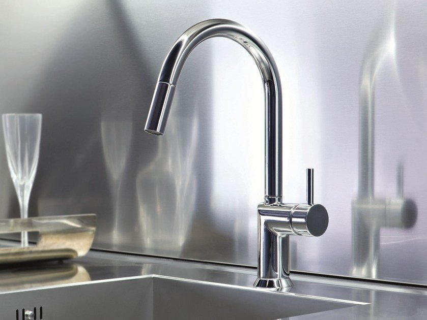Kitchen mixer tap with swivel spout with pull out spray CAFÈ | Kitchen mixer tap with pull out spray by Fantini Rubinetti