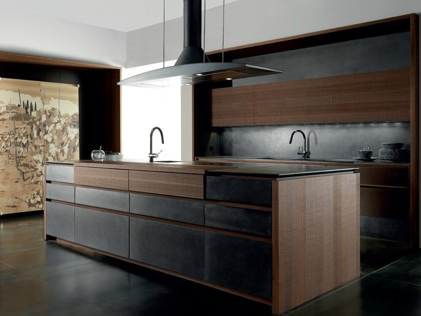 Cement kitchen with island WIND ETA NOIR CEMENT by TONCELLI CUCINE