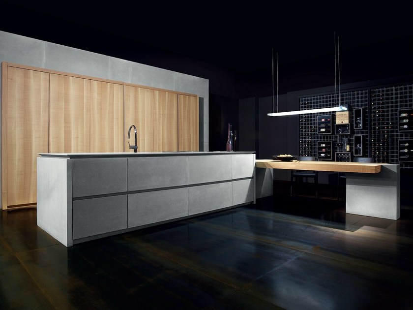 Cement kitchen with island WIND FRENCH GRAY by TONCELLI CUCINE