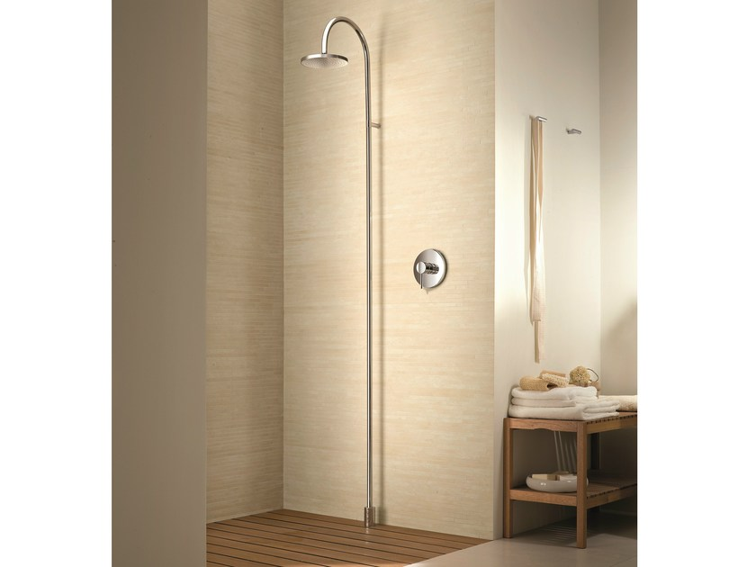 Floor standing shower panel with overhead shower Floor standing shower panel by Fantini Rubinetti